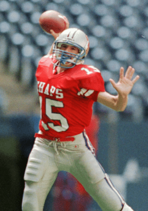 Drew Brees throwing a football in high school
